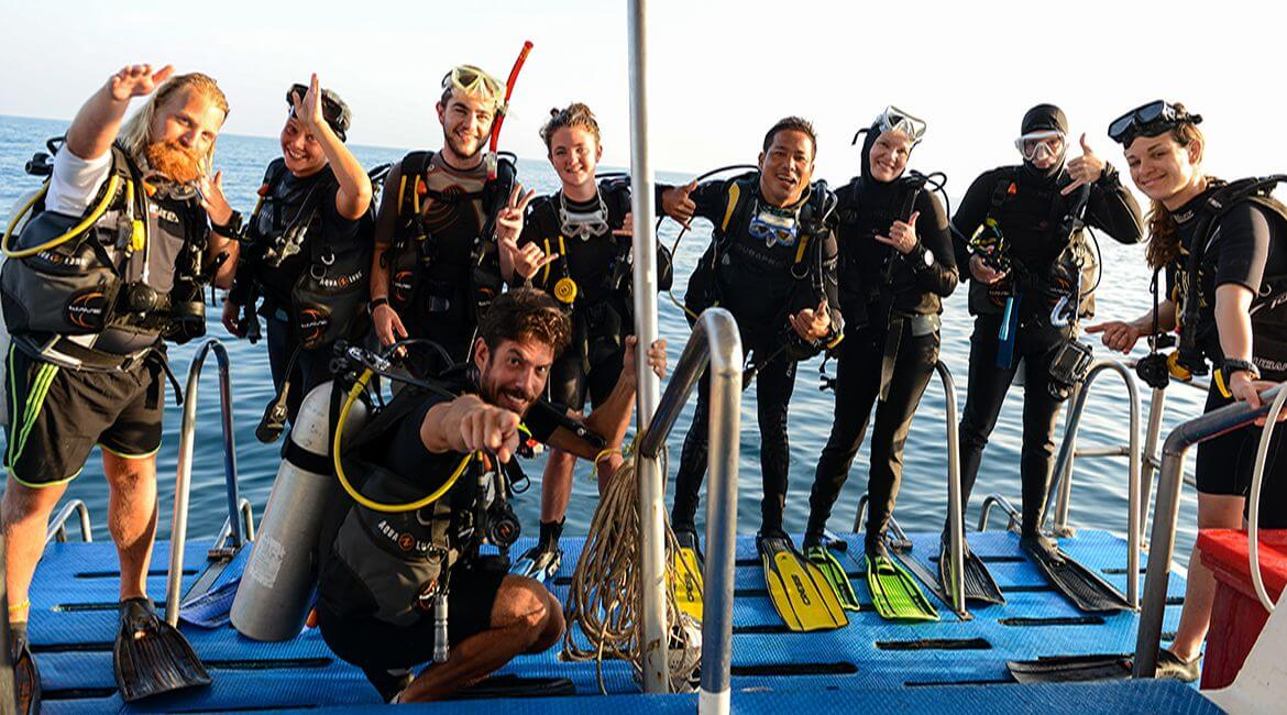 divers on the dive deck