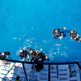 open water diver students waiting to board the boat by the dive deck