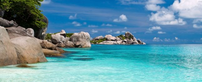 similan island view of boulders and blue water